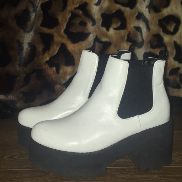 Nasty Gal White Platform Chelsea Boots